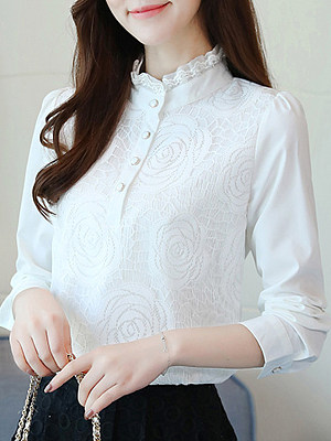Band Collar Elegant Lace Long Sleeve Blouse, 10658761