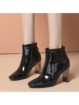 BERRYLOOK Women's Fashion Square Toe Boots