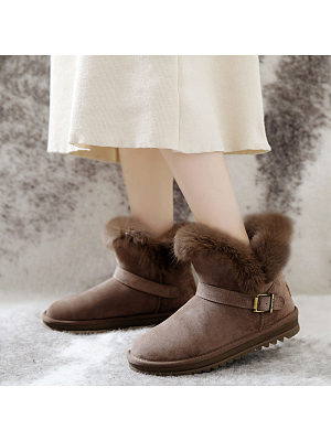 Women's casual solid color waterproof plus velvet ankle boots, 9881060