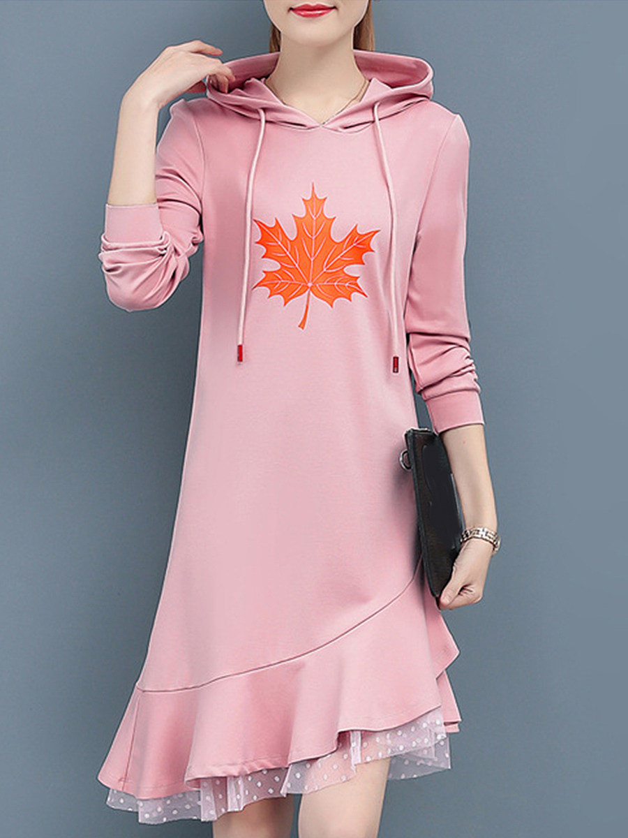 Lady's Hooded Patchwork Color Block Shift Dress - from $24.95