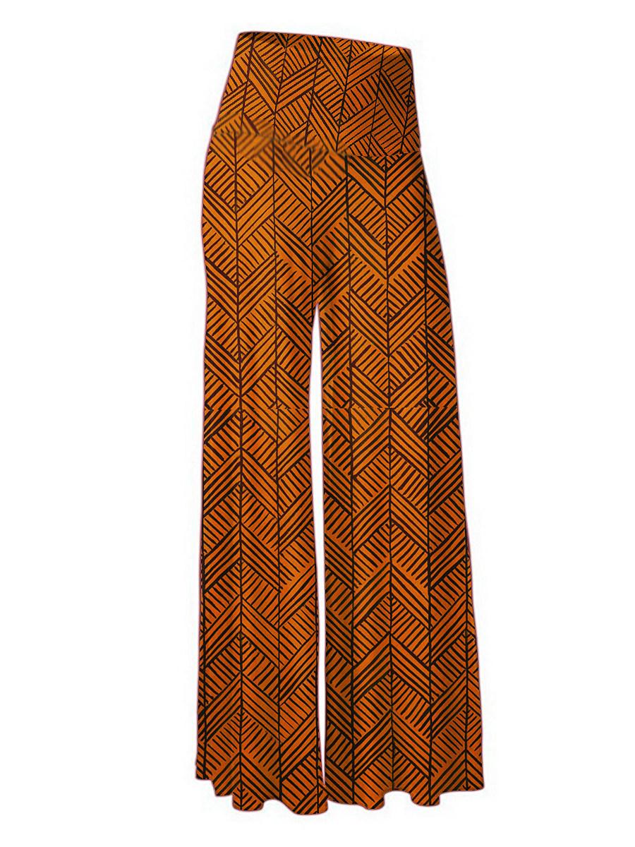 Fashion printed high waist trousers