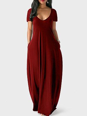 Berrylook Solid Color V-neck Short-sleeved Dress shoping, stores and shops, floral maxi dress, floral dresses