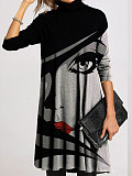 Image of Casual Character Tunic High Neckline A-line Dress