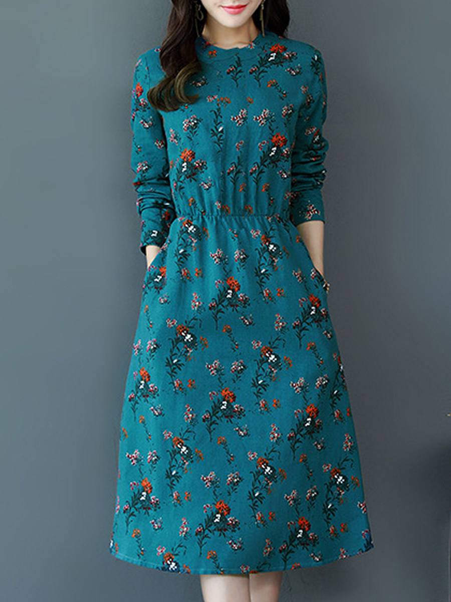 Retro Slim Mid-length Cropped Waist Floral Maxi Dress