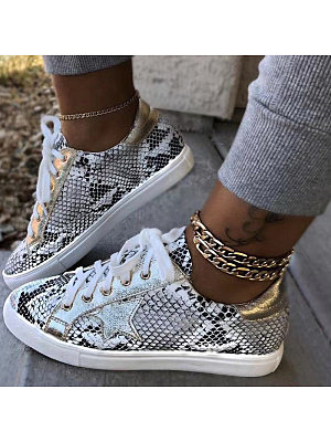 Women's Print Snake Print Flat Sneakers, 10661716
