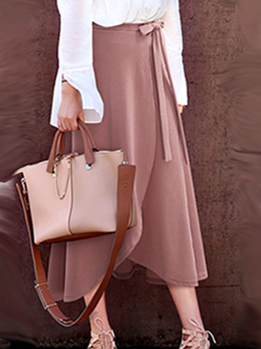 Fashionable high-waist irregular split skirt long mid-length strappy skirt