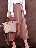Image of Fashionable high-waist irregular split skirt long mid-length strappy skirt