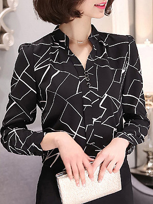 V Neck Printed Long Sleeve Blouse, 11348692