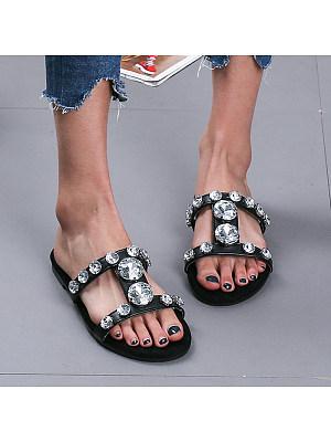 Rhinestone flat slippers, 11265720