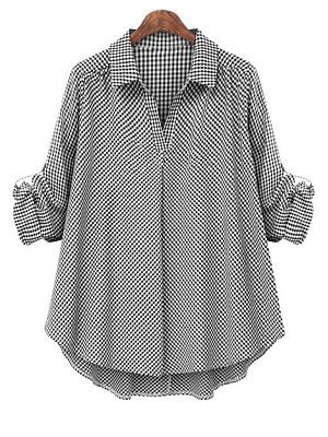 Turn Down Collar Plaid Long Sleeve Blouse, 11490512