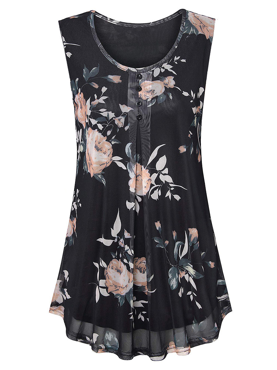 BerryLook Round Neck Floral Print Sleeveless Blouse