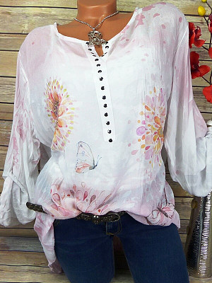 Round Neck Buttons Floral Printed Long Sleeve Blouse, 11259939
