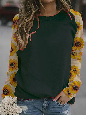 Printed Round Neck Loose Casual Long Sleeve T-shirt, 25350990