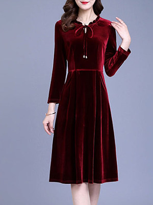 Gold Velvet Dress Autumn And WinterTemperament Pleated Solid Color A-line Base Skirt, 25335703