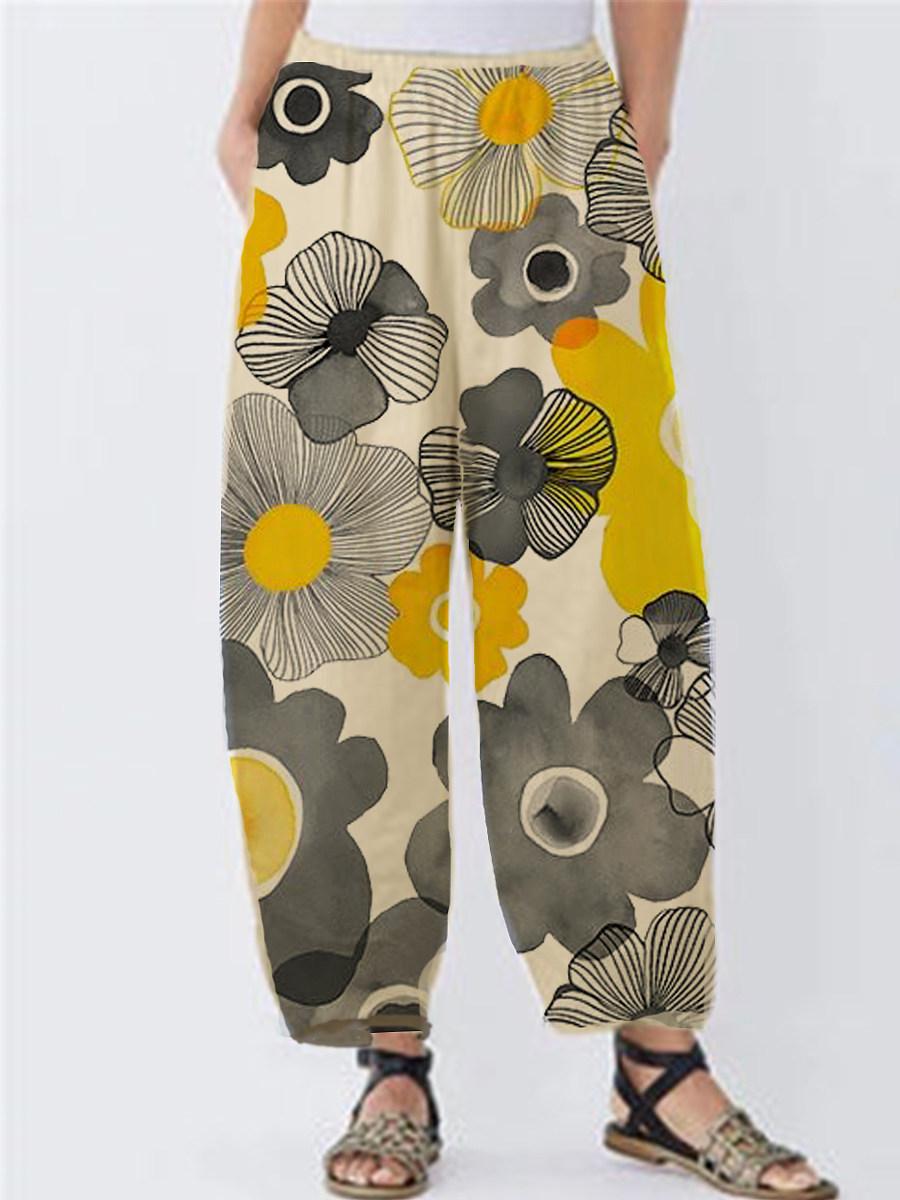 BerryLook Fashionable printed cotton and linen split wide-leg pants