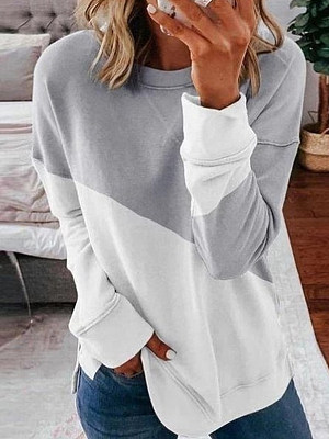 Round Neck Color Block Long Sleeve T-shirt, 25086516, BERRYLOOK  - buy with discount