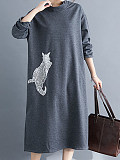 Image of Loose A-Line Round Neck Long Sleeve Dress