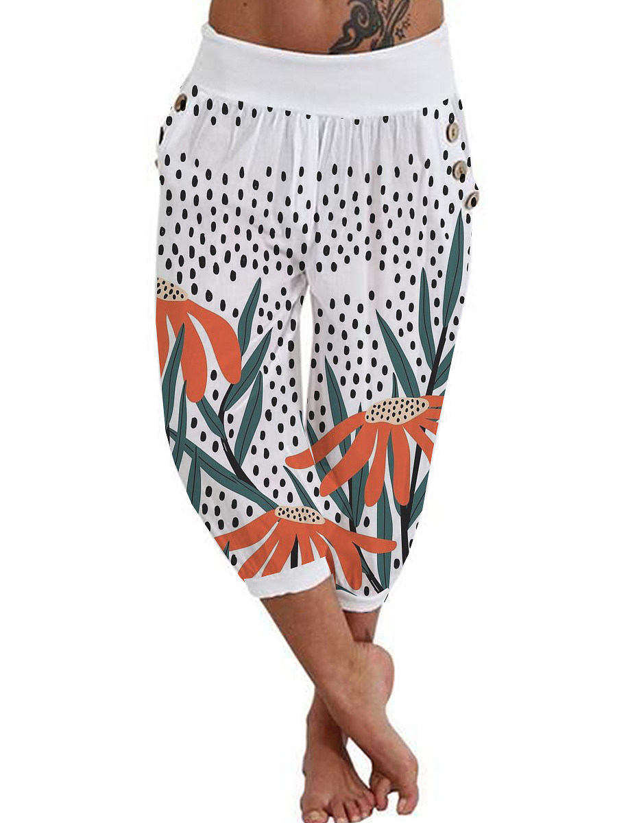 BerryLook Fashion button-up printed shorts cropped trousers