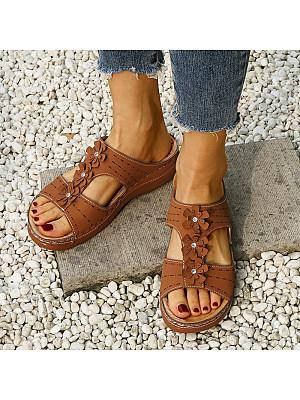 Women's comfortable wedge heel sandals with round flowers, 23870310