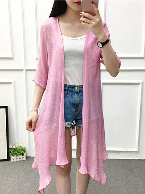 Plain Short Sleeve Cardigan фото