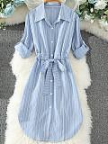 Image of Striped Lapel Long Sleeve Dress