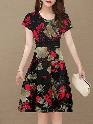 Round Neck Printed Shift Dress, 11602755