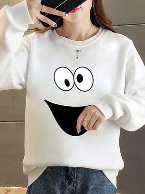 Women's Fashion Casual Print Round Neck Sweatshirt gender:woman, season:autumn,winter,spring, texture:polyester, pattern_type:printing, sleeve_length:long sleeve, sleeve_type:regular sleeve, style:japanese and korean style, collar_type:crew neck, dress_occasion:daily, bust:120,clothing length:75,shoulder width:47,