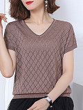 V Neck Plain Plaid Short Sleeve Knit Pullover