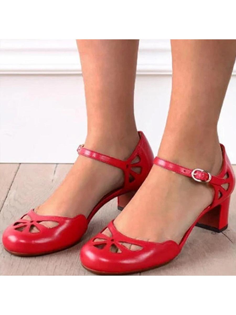 BerryLook Chunky Heel Comfort Vintage Heels