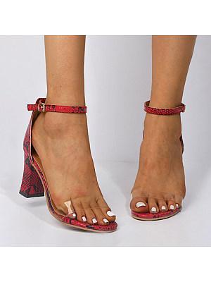 Ladies Sexy Snakeskin Buckle High Heels, 10997177
