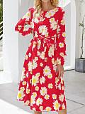 Image of Printed Long Sleeve Round Neck Waist Dress