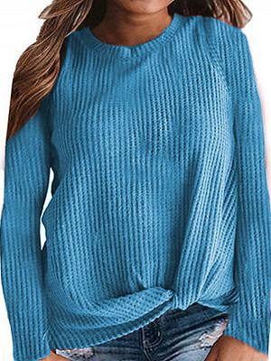 Round Neck Plain Long Sleeve T-shirt, 24971987