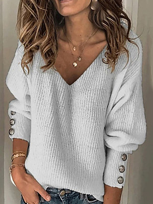 V-neck solid color loose Sweater