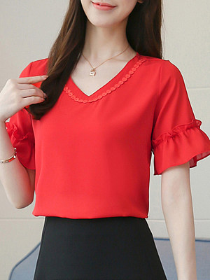 V Neck Plain Bell Sleeve Blouse, 11594939