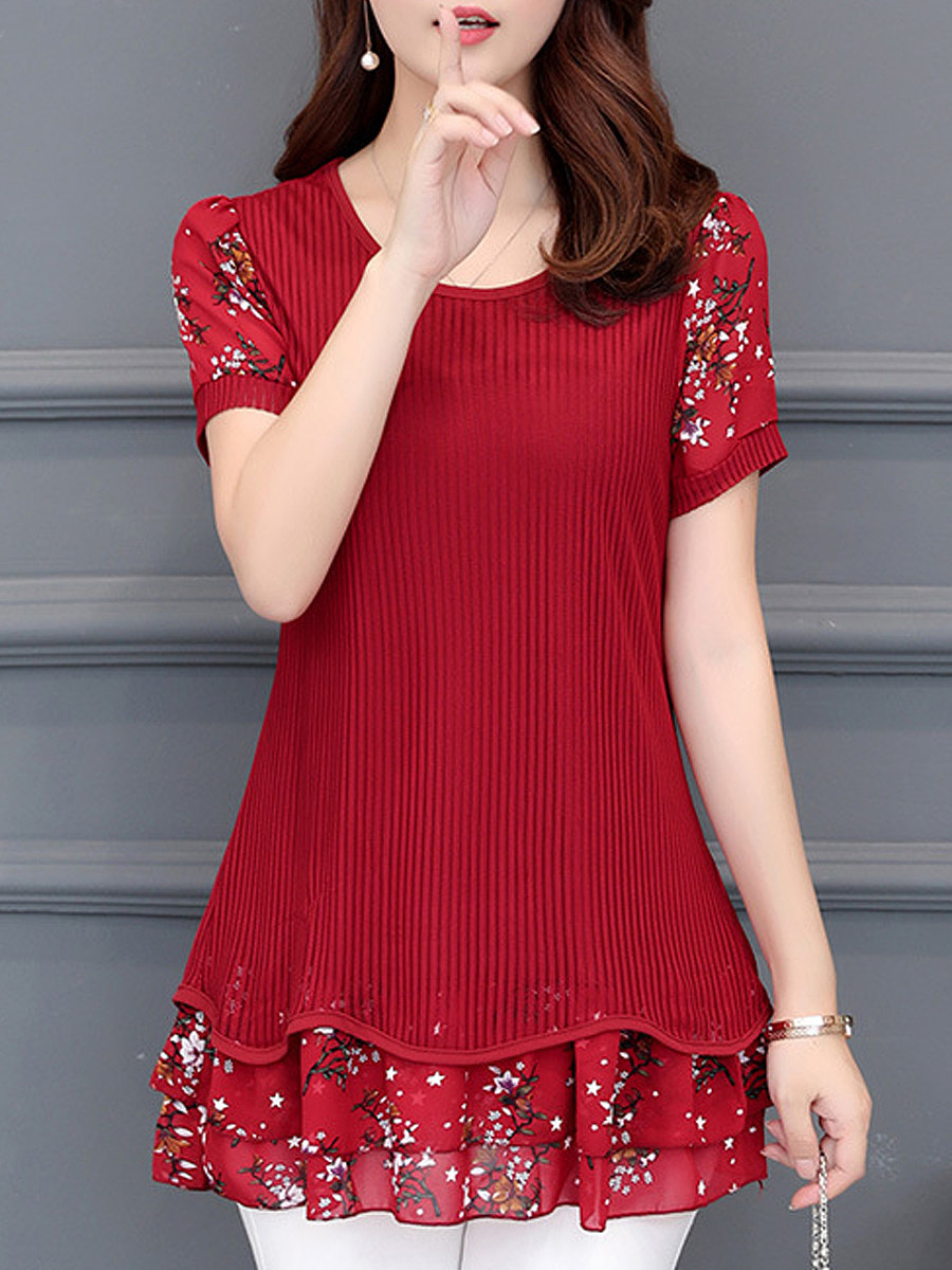 BerryLook Round Neck Patchwork Floral Short Sleeve Blouse