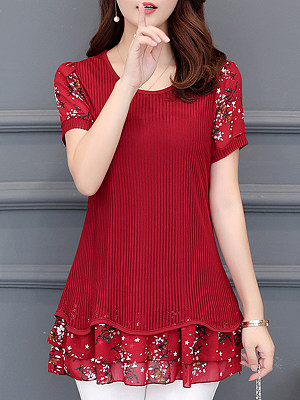 Round Neck Patchwork Floral Short Sleeve Blouse, 11205744