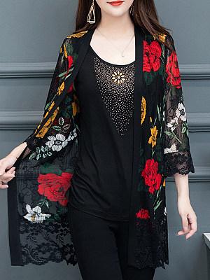 Lace Patchwork Elegant Cardigan, 11061977