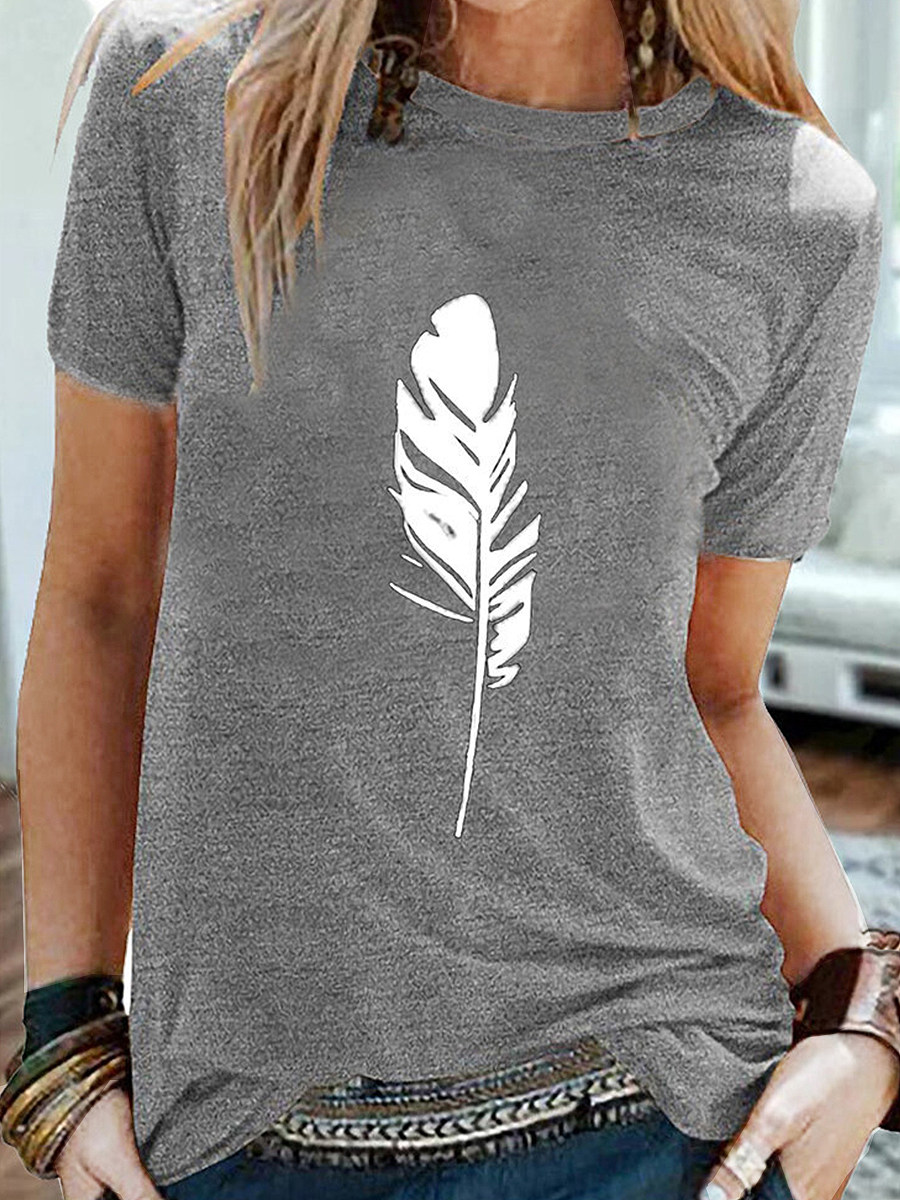 BerryLook Round Neck Feather Print Short Sleeve T-shirt