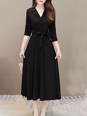 Fold-Over Collar Double Breasted Patch Pocket Plain Maxi Dress, 10258762