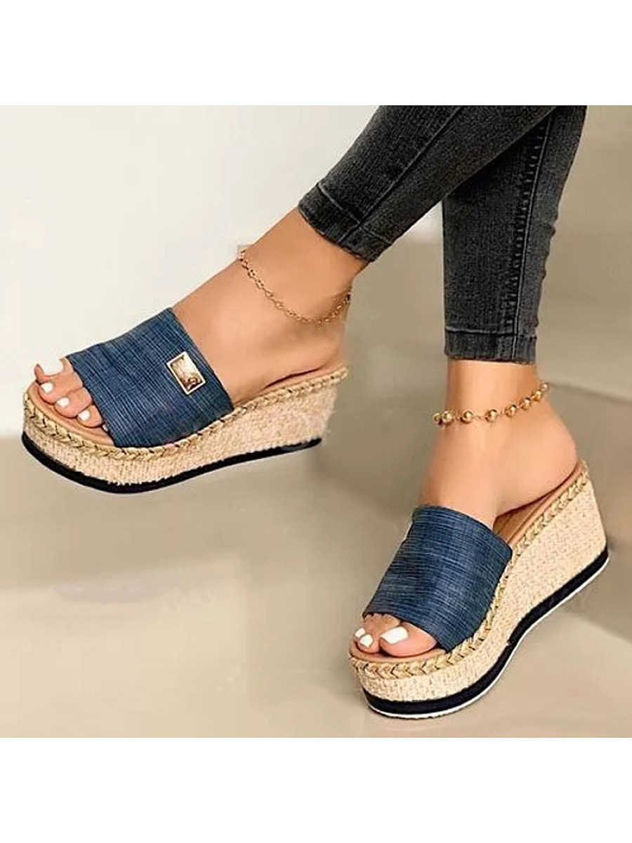 Women's platform wedge slippers