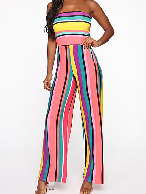 Fashion striped contrast print tube top jumpsuit, 23841763