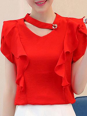 V Neck Plain Elegant Short Sleeve Blouse, 11332621