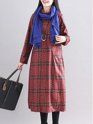 High Neck Patch Pocket Plaid Shift Dress, 10083846