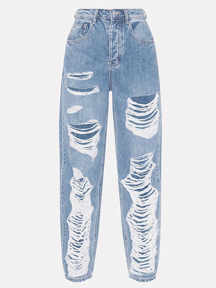 Stylish high-waist ripped slim trousers