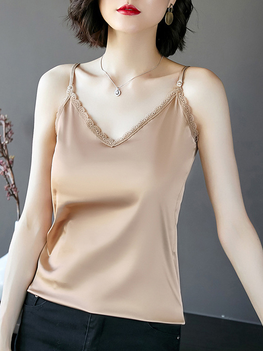 Fashion all-match solid color satin vest
