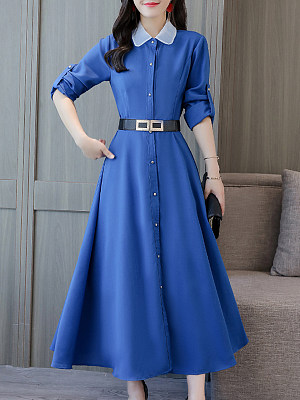 Women's Fashion Temperament Doll Collar Waist Long Sleeve Dress, 10709088
