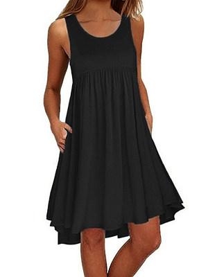 Berrylook Round Neck Sleeveless Pocket Casual Loose Big Hem Dress shoppers stop, online shopping sites, long sleeve dress, floral shift dress