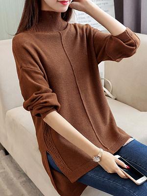 Short High Collar Elegant  Long Sleeve Knit Pullover