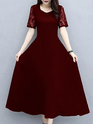 Berrylook V-neck Solid Color Lace Stitching Maxi Dress shoping, shop, lace maxi dress, floral dresses