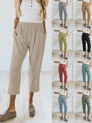 Berrylook coupon: Solid Color Casual Elasticated High-waist Cropped Trousers